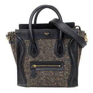 Celine Black Tweed Leather Nano Luggage Crossbody